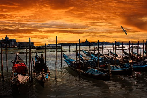 Nature, Architecture, Venice, Gondola, Waters, Sunset