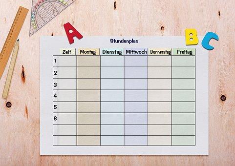 Timetable, Paper, Table, Ruler, Geodreieck, Abc