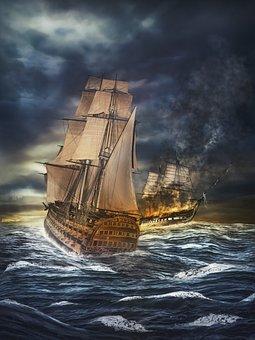 Naval Battle, Ship, Sailing Vessel, Old, Historically