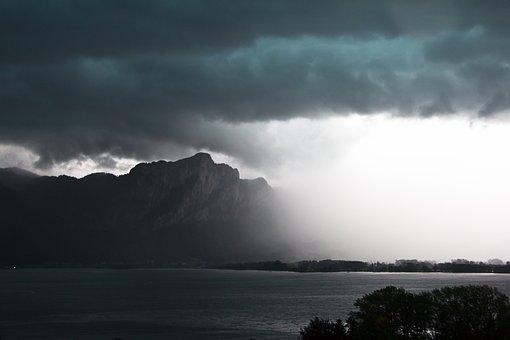 Thunderstorm, Storm, Mountains, Lake, Cumulonimbus
