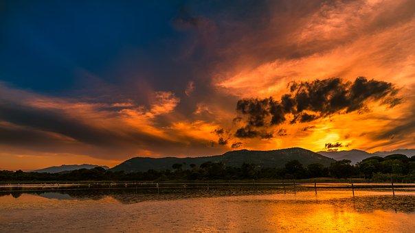 Sunset, Waters, Panorama, Nature, Dawn, Corsica