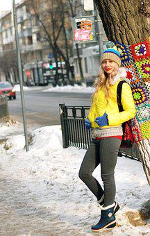 Winter, Snow, Street, Outdoors, Woman