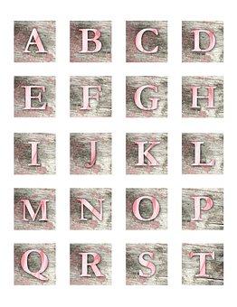 Alphabet, Letters, Letter, Block, Wood, Watercolor
