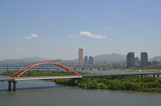 Seoul, Yeouido, Han River, Sogang School, River, Bridge