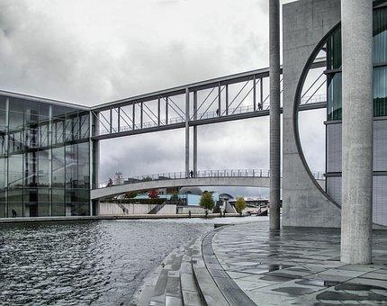Berlin, Spree, Bridge, Paul Löbe House, Architecture