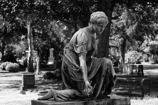 Tomb Art, Cemetery, Black And White Photography
