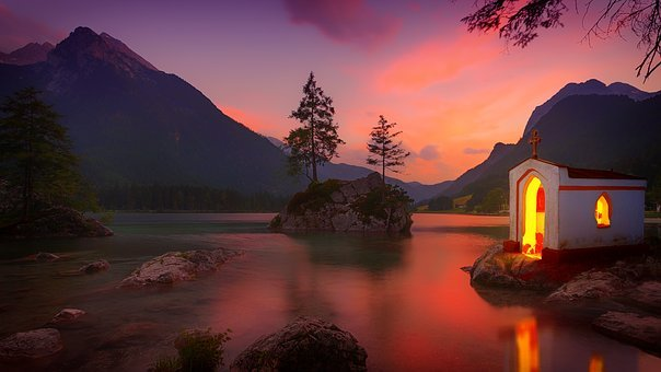 Dawn, Sunset, Lake, Chapel, Waters, Nature, Reflection