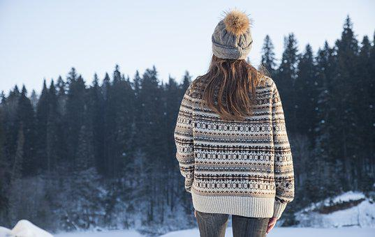 Girl, Winter, Snow, Forest, Coldly, Nature, Travel