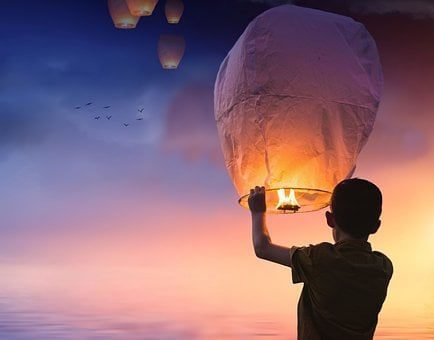 Balloon, Lantern, Light, Sky, Boy, Sunset, Dusk