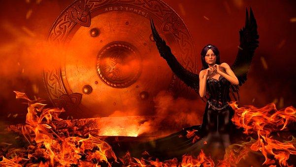 Fantasy, Fire, Angel, Black, Magic, Mystical
