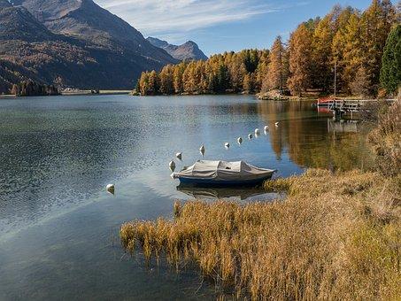 Lake Sils, Graubünden, Switzerland, Autumn, Waters