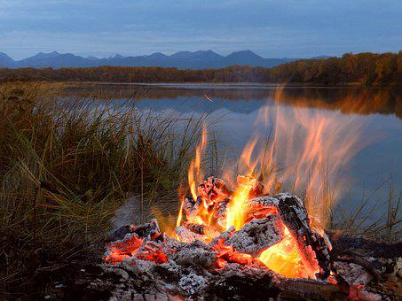 Lake, Koster, Evening, Forest, Mountains, Flame, Fire
