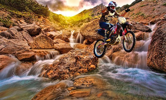 Water, Nature, River, Motion, Rock, Motocross, Dirtbike