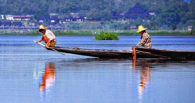 Inle, Lake, Myanmar, Fishing, Boats, Traditional