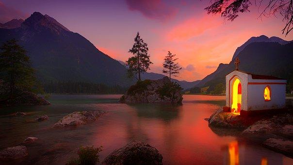 Dawn, Sunset, Lake, Chapel, Waters, Nature, Reflection