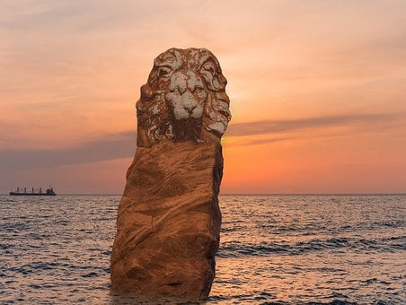 Lion, Lion Head, Statue, Sculpture, Rock, Sunset, Sea