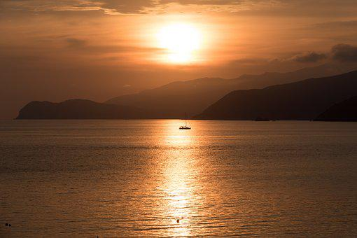 Sunset, Dawn, Sun, Dusk, Water, Italy, Elba, Island
