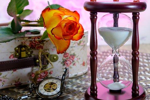 Hourglass, Pocket Watch, Egg Timer, Time, Wait, Rose