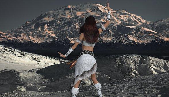 Woman, Glacier, Landscape, Winter, Morning Sun, Amazone