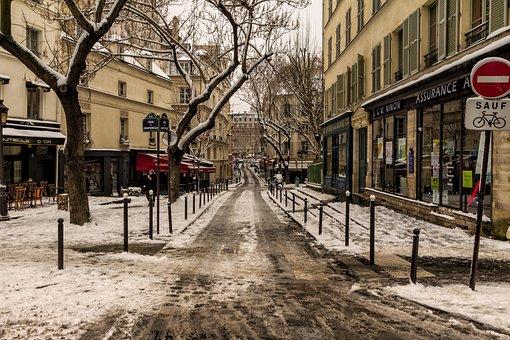 Paris, Snow, Notre-dame, Street, Cold, Winter