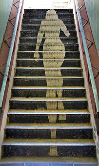 Graffiti, Street, Art, Lady, Stairs, Public, Access