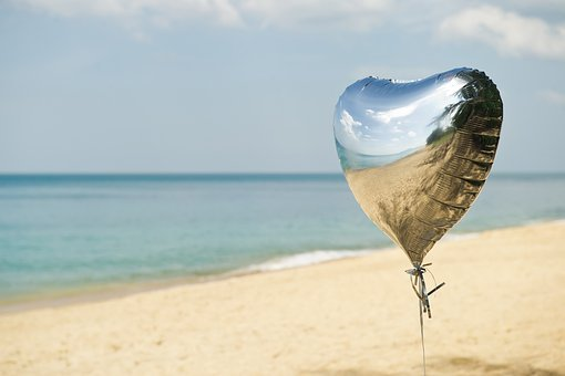 Sand, Beach, Sea, Balloon, Hart, Heart Balloon