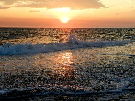 The Pacific Ocean, Sea, Sunset, Evening, Beach, Coast