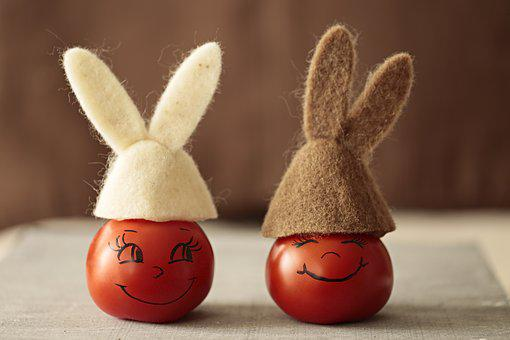 Tomato, Ears, Cap, Bunny, Easter, Couple, Cheerful