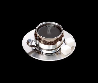 Coffee Cup, Cup, Saucer, Metal, Coffee Beans, Mirroring
