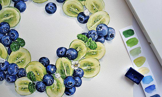 Art, Painting, Watercolor, Fruit, Meal, Grapes