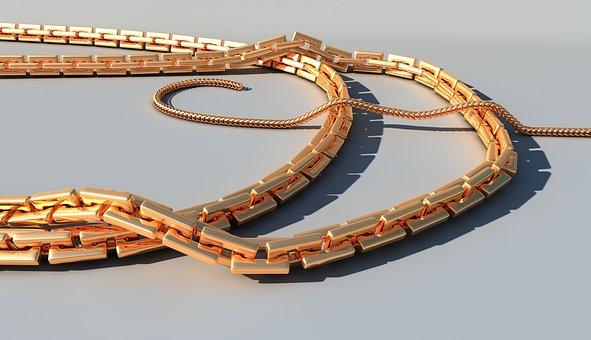 Ornament, Chain, Gold, Gold Jewelry