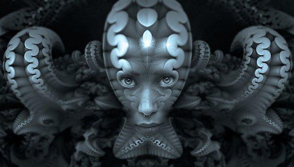 Portrait, Fractal, Psychedelic, Head, Metallic