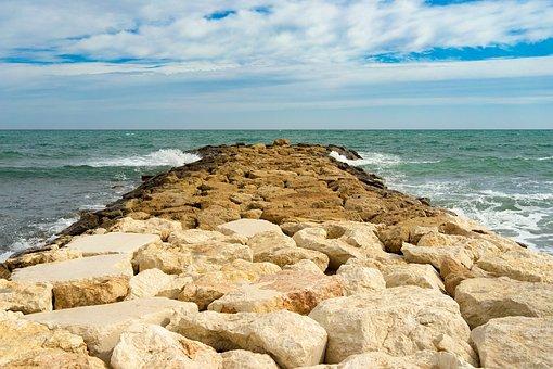 Sea, Water, Seashore, Beach, Nature, Stone, Pier, Into