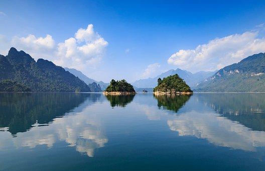 Water, Nature, Reflection, Mountain, Lake, Viet Nam