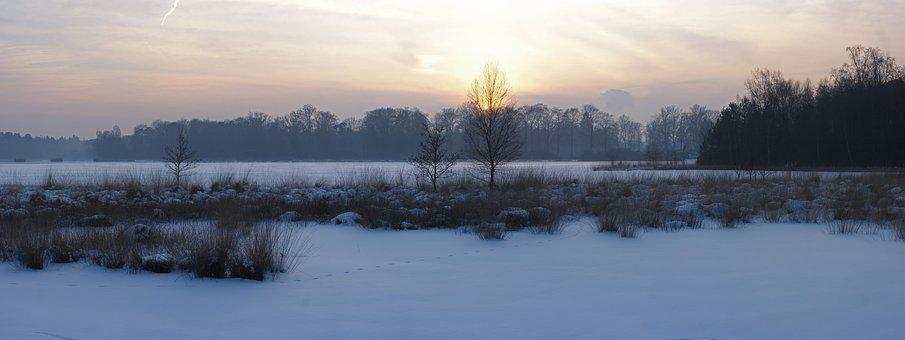 Snow, Water, Winter, Panoramic, Lake, Landscape