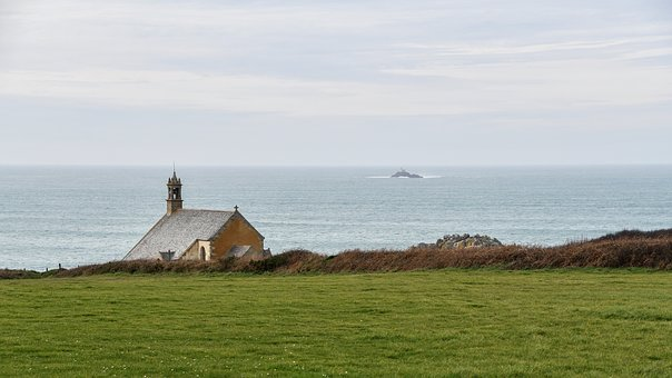Sea, Chapel, Sky, Grass, Rock, Landscape, Side, Church