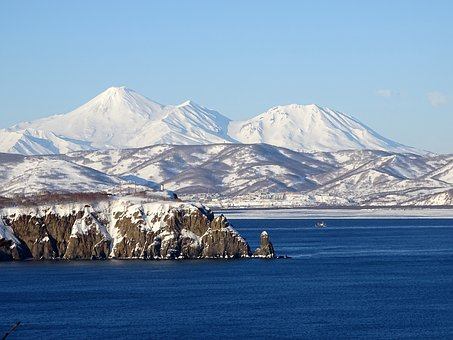 The Pacific Ocean, Sea, Mountains, Volcano, Rocks, Wave