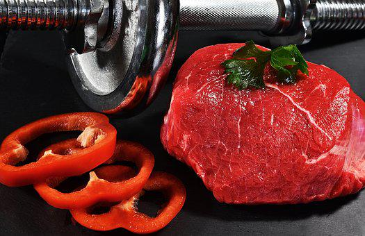 Meat, Dumbbells, Food, Muscles, Exercise, Strengthening