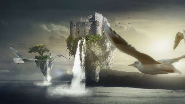 Fantasy, Floating, Island, Water, Nature, Birds