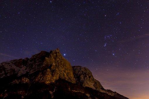 Night Photograph, Star, Schlern, Santner Peak