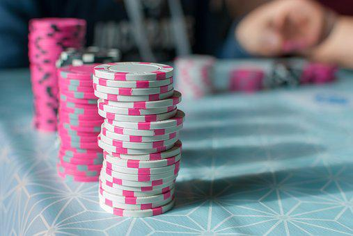 Poker, Contrast, Token, Shadow, Pink, White, Game