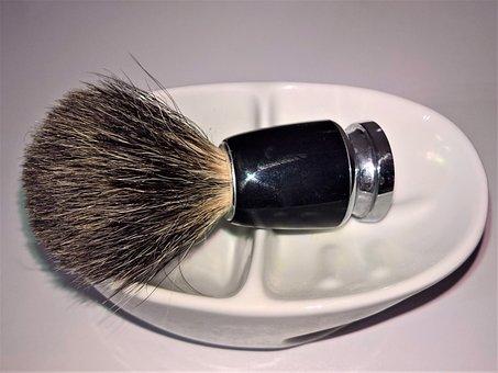 Shaving Brush, Badger Hair Brush, Porcelain Bowl