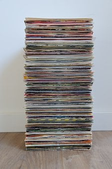 Pile, Paper, Sound, Round, Phonograph Record, 45 Rpm