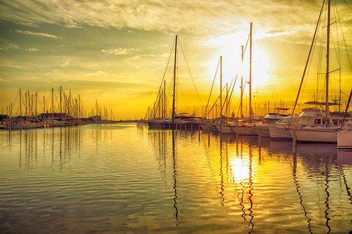 Body Of Water, Sea, Sunset, Sailboat, Ocean, Boat, Sky