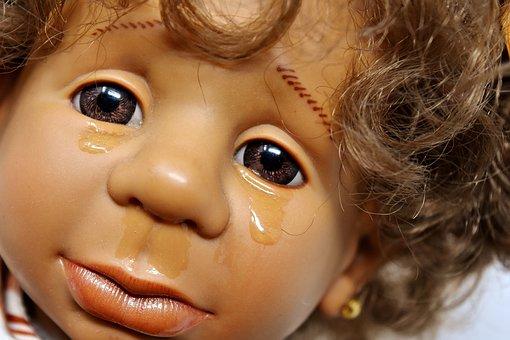 Doll, Girl, Sad, Cry, Tears, Face, View, Sadness, Head