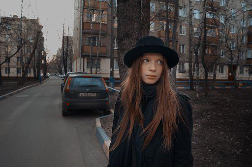 Street, Girl, City, Outdoors, Fashion, Portrait, Autumn