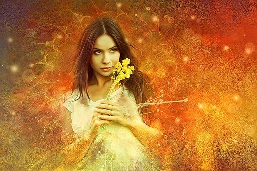 Girl, Beautiful, Woman, Magic, Fantasy, Flowers