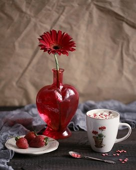 Cup, Table, Coffee, Drink, No One, Flower, Hot, Food