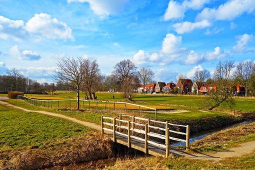 Bridge, Field, Footpath, Golf Course, Tree, Landscape