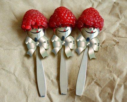 Raspberries, Fruit, Spoon, Loop, Funny, Smiley, Three